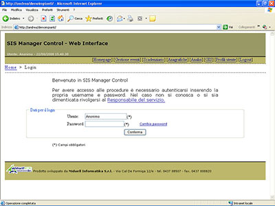 SIS Manager Control - web interface